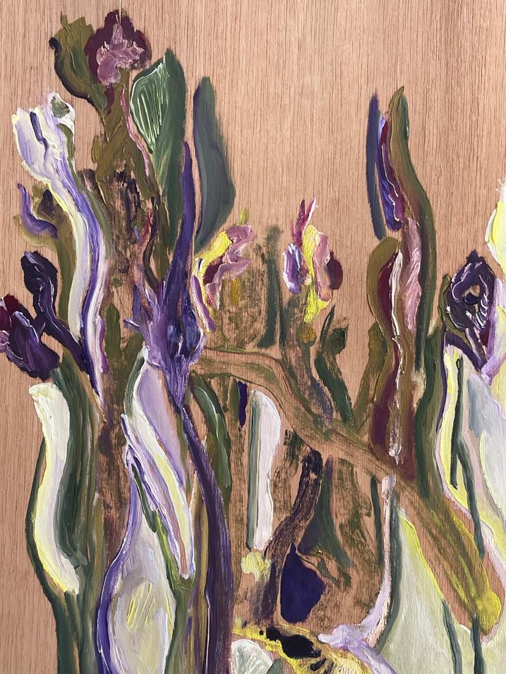 Monotipia e pintura sobre folha de madeira