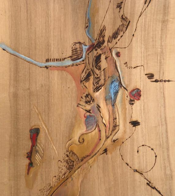 Desejo I, Pirografia e pintura sobre folha de madeira