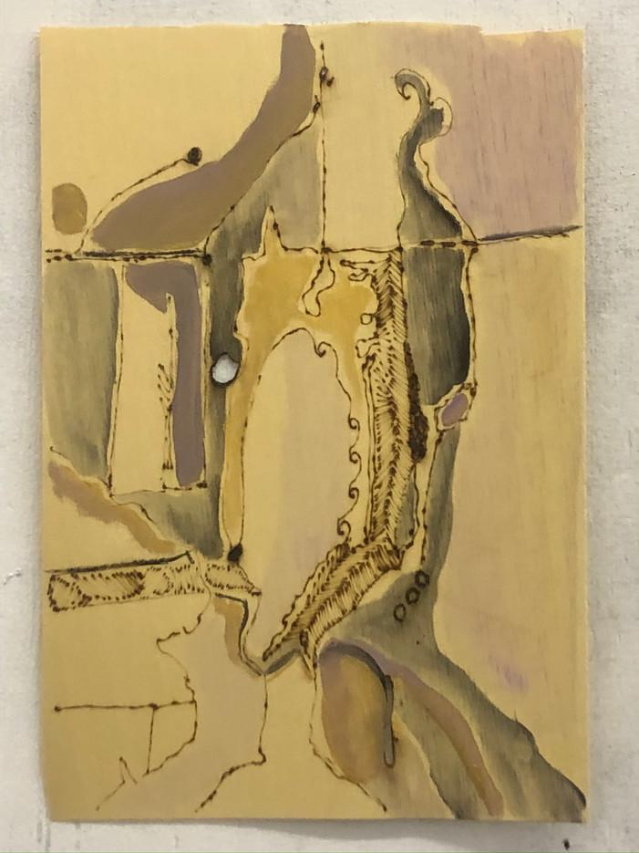 Sem titulo, Pirografia e pintura acrilica sobre folha de madeira