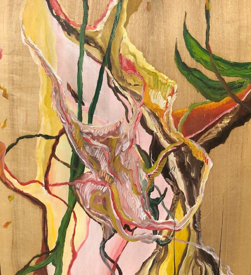 Primeira, oleo sobre folha de madeira