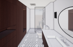 white bathroom with shower built-in storage