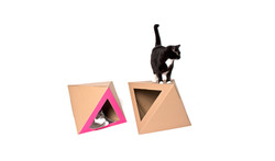 Octacat house for cat pink and kraft