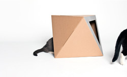 Silver cardboard cat bed