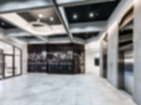 black and white corporate office lobby