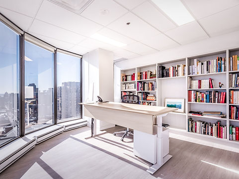 office with bookshelf