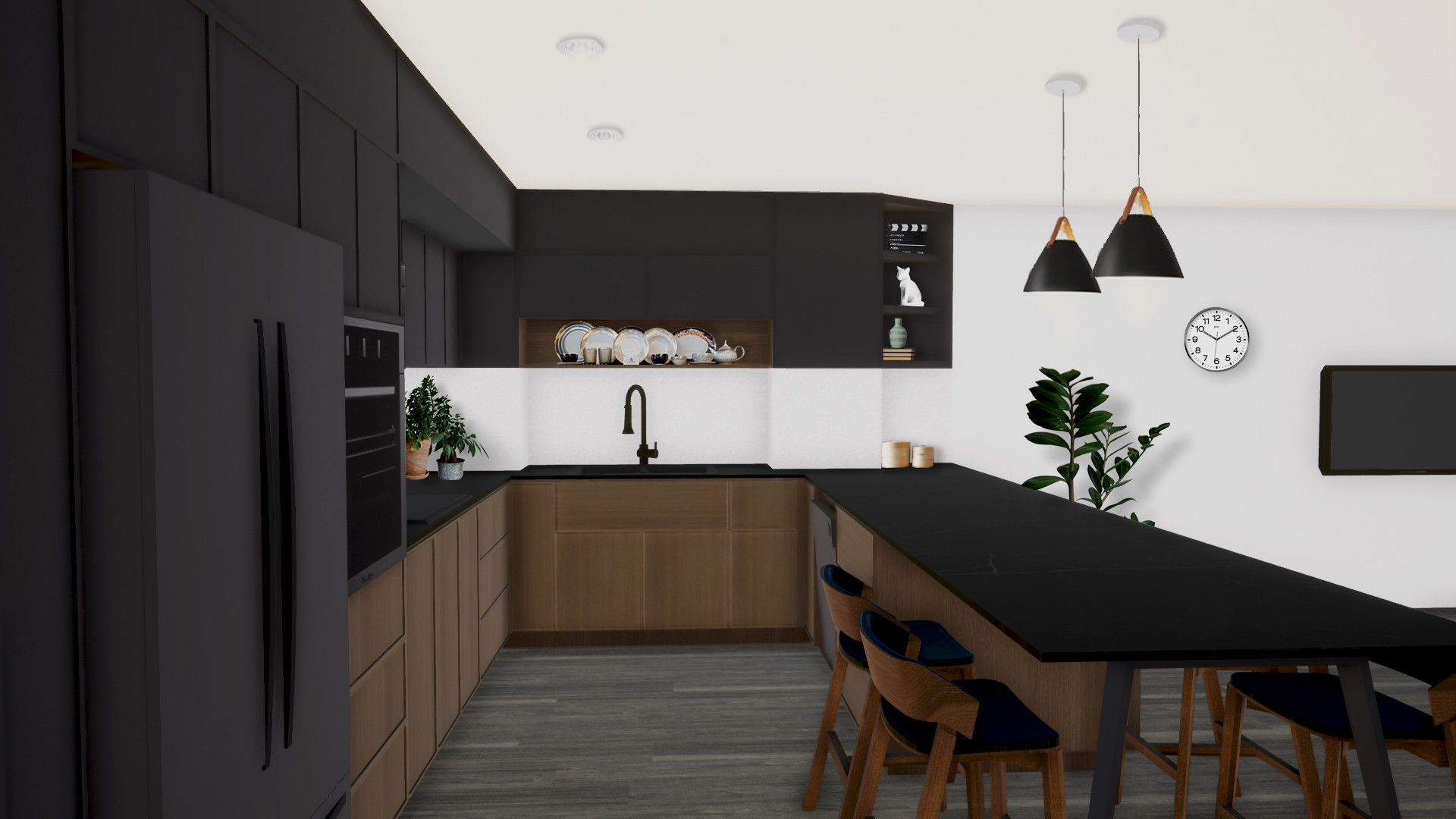 condo kitchen black wood