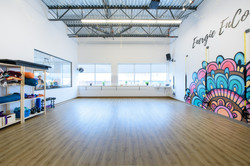 studio with painted wall graphics