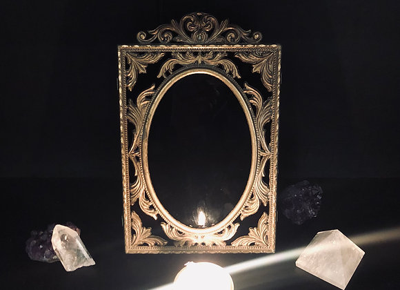 Vintage Scrying Mirror / Ornate Brass Tone