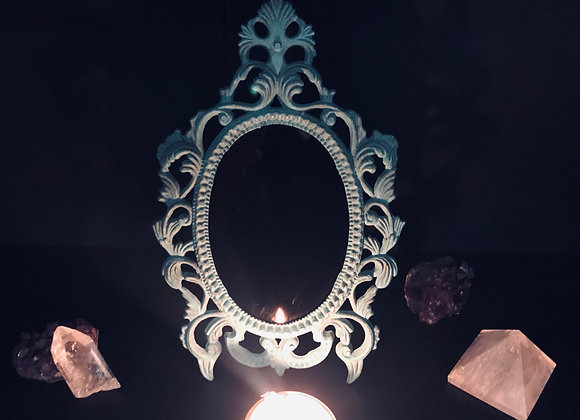 Vintage Scrying Mirror / Ornate Blue/Green
