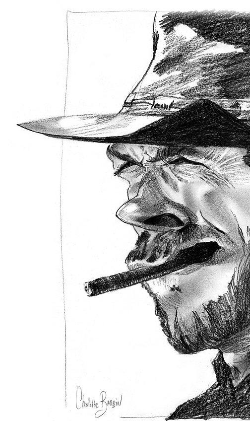 Caricature ou dessin en noir et blanc de CLint Eastwood, réalisée par charlotte Barbin, Prestataire évènementiel pour des animations caricature, artistiques drôles et originales en région Pays de la Loire, Loire Atlantique, de Nantes à Saint-Nazaire