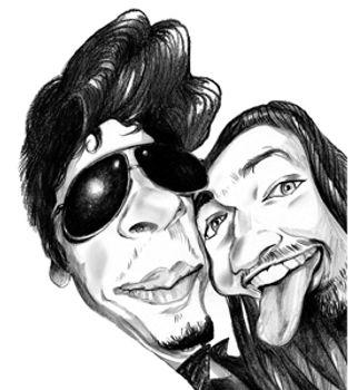 Amis en Caricature, dessin en noir et blanc en commande en ligne