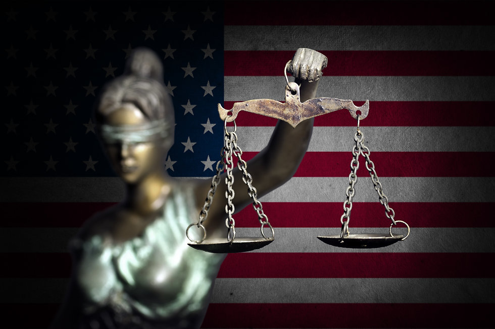 Lady justice with U.S flag background .j