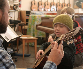 Brad Richter helps Jack in Aspen, 2012.