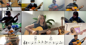 """Guest Artist Mia Garcia plays """"Greensleeves"""" with Lead Guitar students in the 5th episode of We Are Guitar, 2021."""