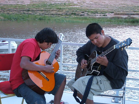 Jared Klain and Sherwin Shepard of Page High School play guitar on a retreat during the early days of Lead Guitar, 2005.