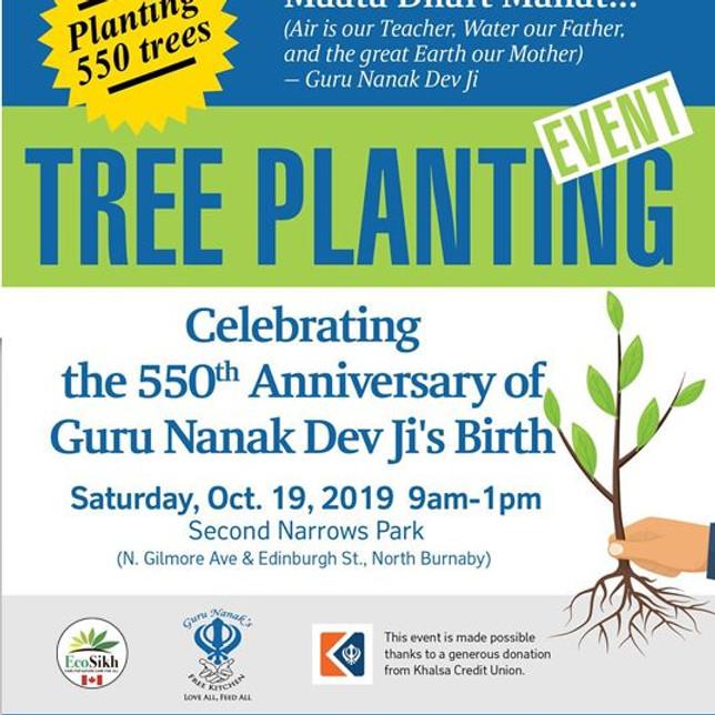 Guru Nanak 550 Tree Planting Event - Burnaby BC - Guru Nanak Free Kitchen