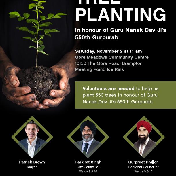 'Guru Nanak 550' Tree Planting Event - City of Brampton