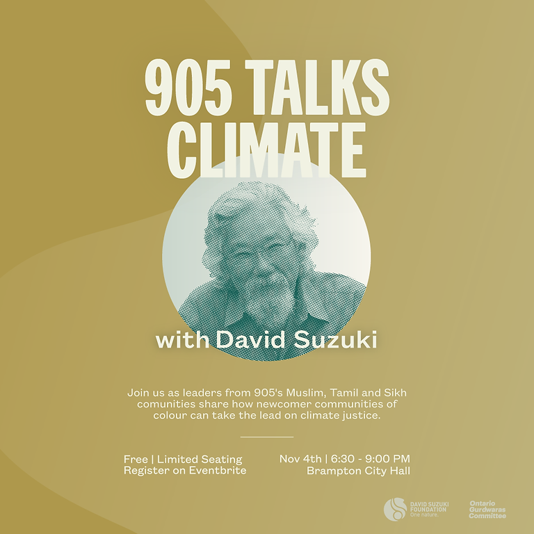 Join EcoSikh Canada with David Suzuki on 905 Climate Action