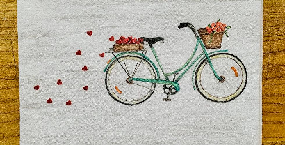 Rose Basket Bicycle Flour Sack Towel