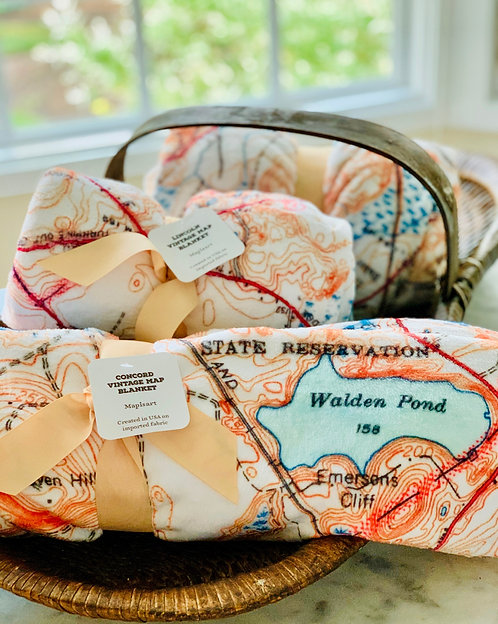 Vintage Map Blanket (Choose Concord or Lincoln)