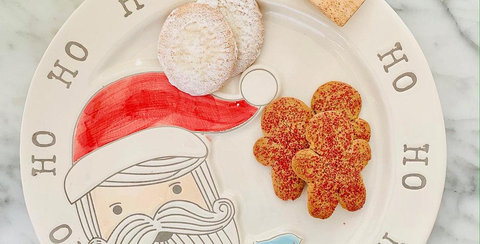 Santa Cookie Platter w/Tongs