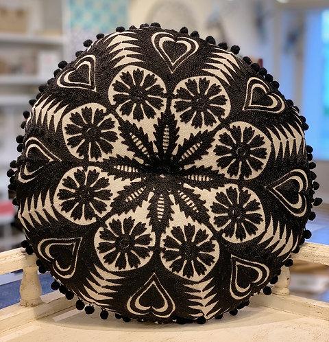 Black Floral Round