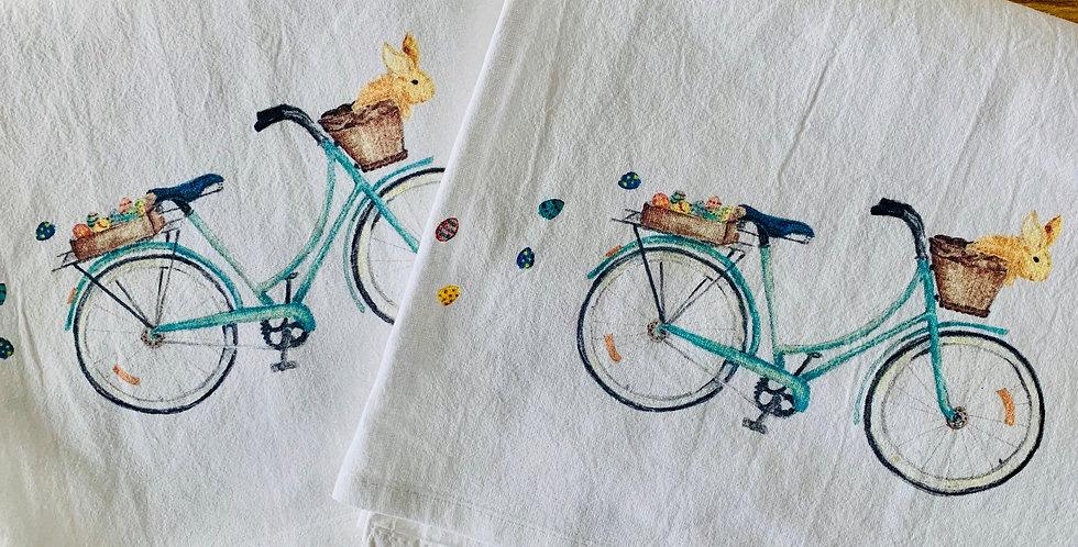 Bicycle with Bunny Tea Towel