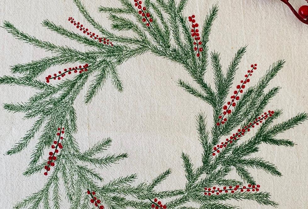 Holiday Wreath Flour Sack Towel