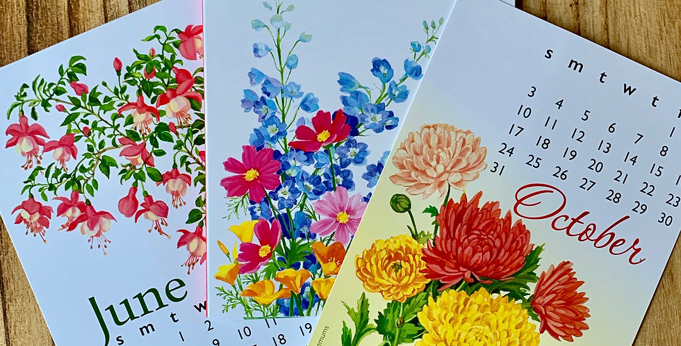 "2021 Flowers Desk Calendar (5"" x 7"")"