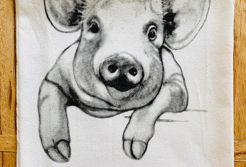 Jennie Blue Pig Tea Towel