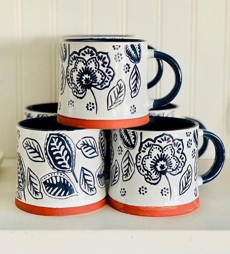 Blue & White Floral Mug