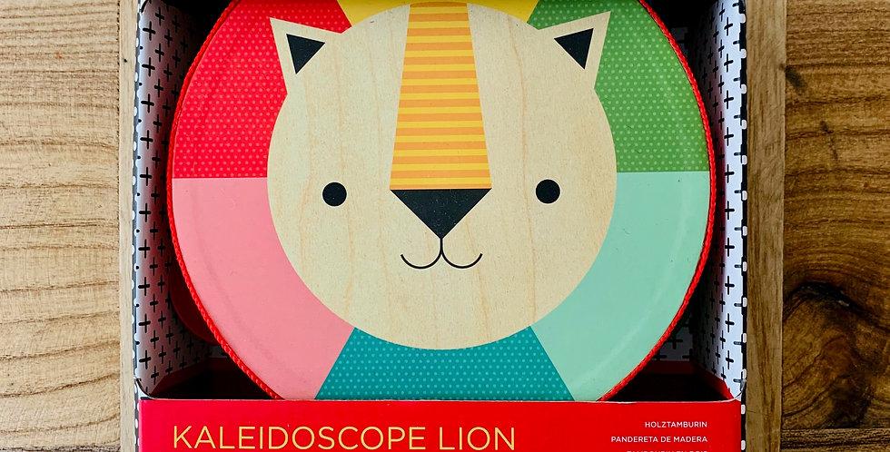Kaleidoscope Lion Wooden Tambourine