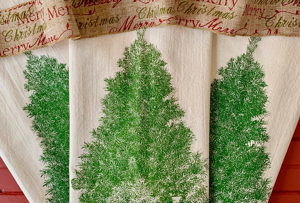 Evergreen Tree Flour Sack Towels