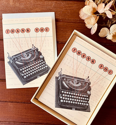 Vintage Typewriter Thank You Cards (Boxed Set)