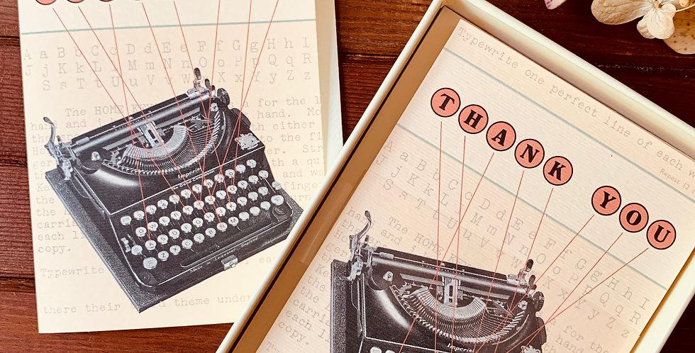 Vintage Typewriter Thank You Cards (Boxed Set)