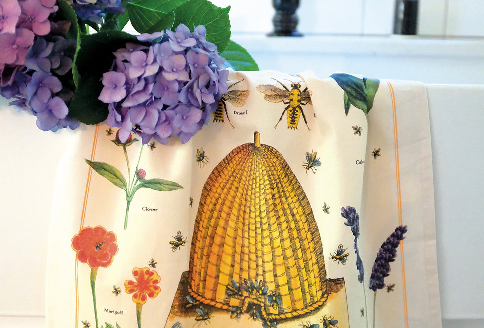 Cavallini Bees & Honey Tea Towel