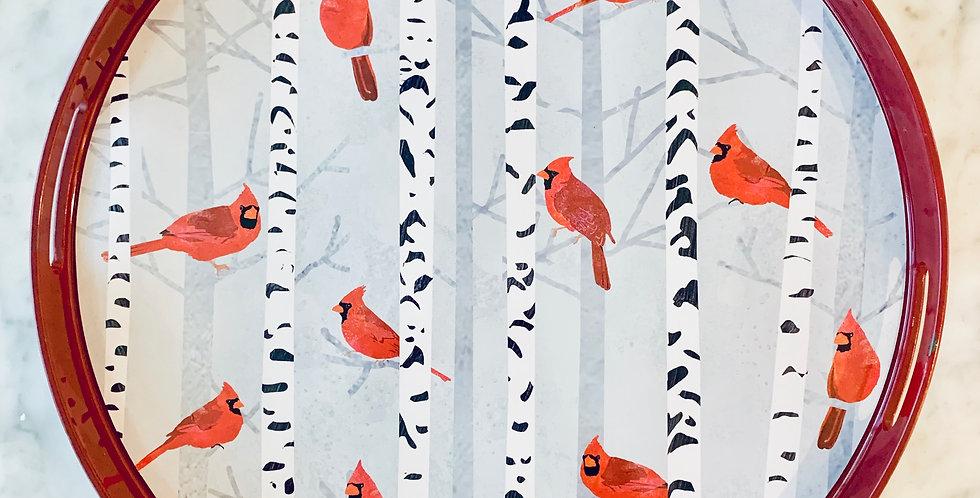 Cardinals on Birch Round Tray