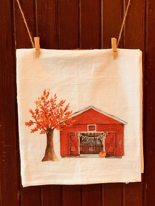 Fall Barn Flour Sack Towel