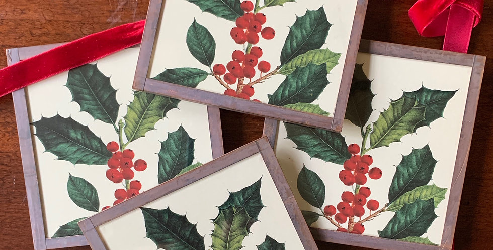 Holly Coasters by Ben's Garden (Set of 4)