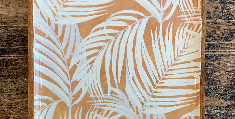 Palm Fronds Square Wooden Tray