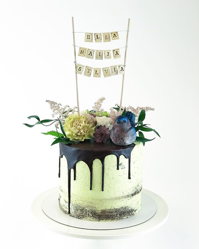 Mint cookies and cream cake, natural mood with organic colours of pinks, greens and purples