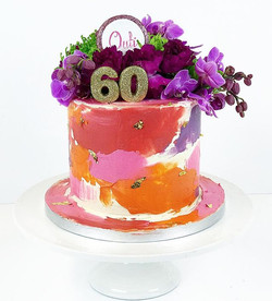 Outi turns 60 and loves bright colours Happy birthday 🍰 #kakku #cake #birthday #colours #pink #red