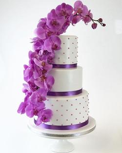 Simple & elegant white with fresh lilac orchids - yksinkertainen valkoinen ja lila orchidea kakku