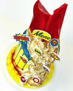 Superhero cartoon cake with lovely lemon