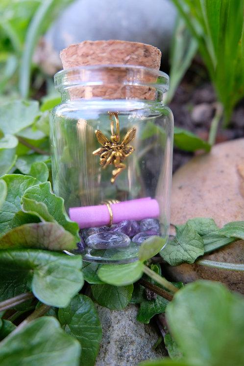 Amethyst crystal fairy jar