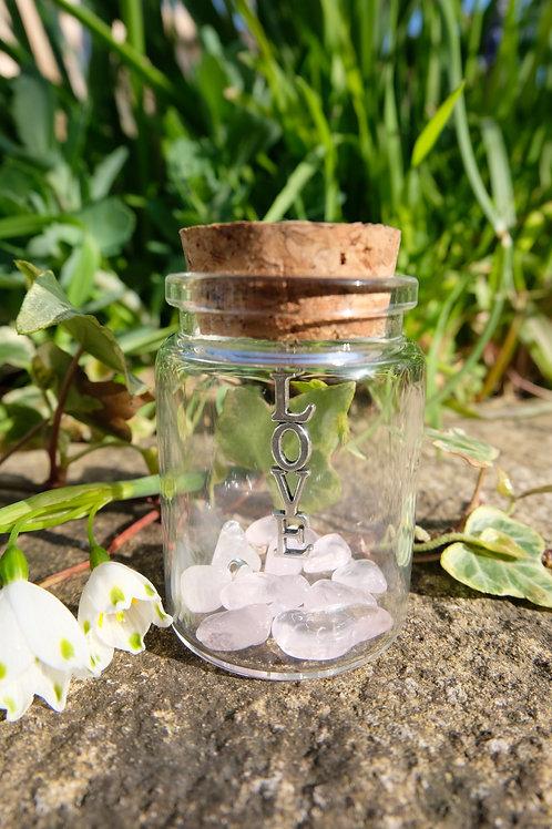 Love jar with rose crystal