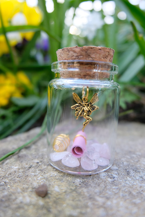 Rose crystal fairy jar