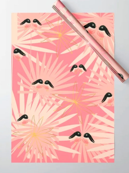 Wrapping Paper Pink Bird Pattern Vintage Print