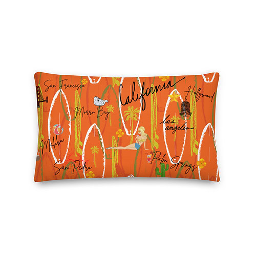California Vintage Design Orange Premium Pillow and Case
