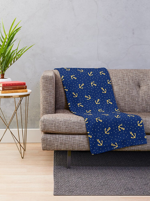 Nautical Throw Blanket Sapphire Blue with Gold Anchors and Stars
